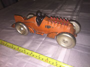 1930and039s Animated Hubley Racer 10 1/2 Length - Super Rare Clean Original Paint