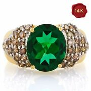4.07 Carat Russian Emerald And 1.18 Ct Genuine Diamond 14kt Solid Gold Ring