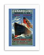 Lusitania Mauretania Cruise Liner Ship Boat Funnel Travel Canvas Art Print