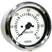 White Faced 0-6000 Rpm Inboard Or Sterndrive Tachometer Gauge With Chrome Bezel