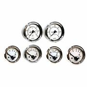 White Faced Inboard And Sterndrive 6 Gauge Kit With Chrome Bezels For Boats