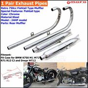 2x Fishtail Exhaust Mufflers Headers Head Pipes Silencer 24hp For Bmw M1 M72 R71