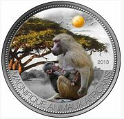 Baboon 1000 Francs Niger 2012 1oz Silver 999 And Yellow Agate