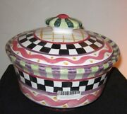 NEW Mackenzie Childs Piccadilly Ceramic Lidded Casserole Knob Top Retired Rare