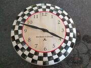 Mackenzie Childs Courtly Check Metal Enamel Clock Black White & Red