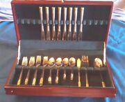 Holiday Bling Wallace Stainless Flatware Service For 8 In Chest Silver/gold Trm