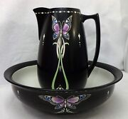 Shelley China Purple Butterfly On Black 8334 Wash Basin And Pitcher Set Rd680712