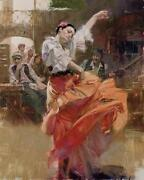 Pino Flamenco In Red Spanish Dancer Sold Out Ed. Giclee On Canvas Hs/ 46x36
