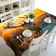 Long Antlers 3d Tablecloth Table Cover Cloth Rectangle Wedding Party Banquet