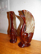 2 Mid Century Art Deco Pottery Ceramic Swans Brown Redware Bookends Pair $10 OFF