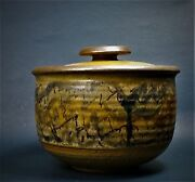 K. Smith Vintage MCM Studio Art Pottery Canister Jar w/Lid Signed Mid Century