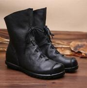 Womens Genuine Leather Western Cowboy Boots Lace Up Flat Rubber Sole Riding Boot