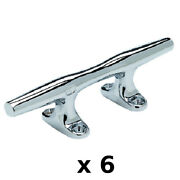 6 Pack Of 4 Inch Chrome Plated Zinc Hollow Base Cleats For Boats And Docks