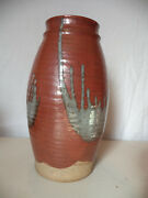 "Vintage Beppu Raku Studio Art Pottery Hand Thrown 12"" Vase SIGNED Dated 75!"