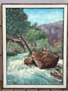40 1959 Clarence Ellsworth Oil Canvas Fisherman Fishing Landscape Painting