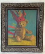 Spectacular Vintage And Charming Oil On Canvas Steiff Teddy Bear Toy Painting