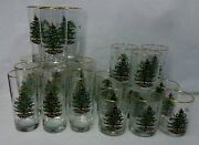 Spode Glassware Christmas Tree 24-pc Set 12 Highballs And 12 Double Old Fashioneds