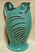 Vintage Mid Century Modern Hand Painted Pottery Water Pitcher Italy Italian Fish