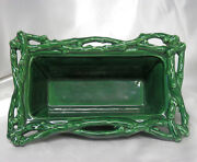 """Vintage California Pottery FRAZIER Green Briar Pattern 1951 Signed Dish 9"""" Long"""