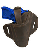 New Barsony Ambidextrous Brown Leather Pancake Holster For Full Size 9mm 40 45