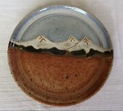 Studio  Art Landscape Pottery Decorative Plate Sisters, Oregon Mountains 10""