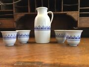 Vintage Jensen Turnage Signed Pottery Pitcher And Four Cups