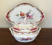 Kpm Berlin Rocaille Porcelain Soup Tureen With Putto Cherub And Oval Platter C1900