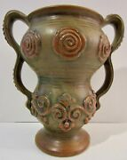 1920s WELLER ART POTTERY Rare Clarmont Brown 8 Inch Tall Vase AS IS BASE CHIPS