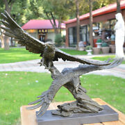 West Aristocratic Bronze Marble Art Deco Sculpture Two Fly Eagle Statue