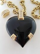 Auth Christian Dior Vintage Emal Heart Necklace, Brooch With Chain Gold Tone