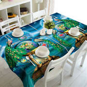 Long Peacock Tail3d Tablecloth Table Cover Cloth Rectangle Wedding Party Banquet
