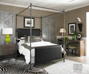 Old Biscayne Designs Four Poster Iron And Upholstered Bed