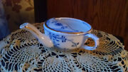 Antique Invalid Feeder Cup Made In Germany Blue Floral Design With Gold Accents