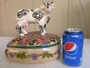 Contemp Calif Hand Made Pottery by LESAL CERAMICS Heart Bowl w COW Figure Lid