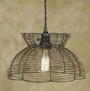 Vintage Wire Pendant Light In Green/rust Color. Pendant Light Lamp.