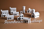 Diy Pack Of 11 Putz Style Glitter Farmhouse Village Houses - Unassembled Houses