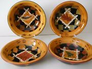 Zrike S.Riggsbee White *Outpost* Set of 4 Soup Bowls~All Motif's c.2001-07