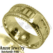 18k Solid Yellow White Or Rose Gold Roman Design Menand039s Ring. R1660