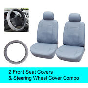Gray Pu Leather 2 Front Car Seats Covers +steering Wheel Cover - 6c15302