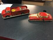 Vintage Linemar Marx Tin Toy Wind-up Fire Dept Chief Car And Fire Truck C59
