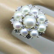 Vintage 1950s Cocktail Ring 14k White Gold Cultured Pearls And Diamonds