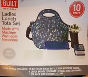 New Built Ny 10-piece Neoprene Insulated Blue Lunch Tote Bag Set