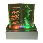 Led Lights 25th Silver Wedding Anniversary Gift Glass Ornaments Book Present