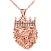 14k Rose Gold Studded Cz King Lion Head Double Sided Text Embossed Necklace