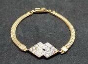 Vintage Russian Russia 14k 585 Rose Pink White Gold Created Diamond Bracelet