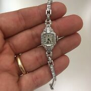 Vintage Lady Elgin Platinum And Diamond Watch