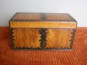 Antique Satinwood Document Box W/ Scalloped Inlay