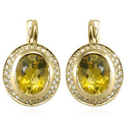 14k Solid Yellow Gold Genuine Citrine And Diamond Russian Jewelry Earrings E1228