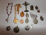 Vintage Religious 15 Lot Mixed Medals Charms Hayward Sterling And More