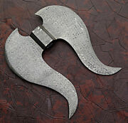 Unique Hand Made Damascus Steel Tomahawk Hatched Blank Axe Head .